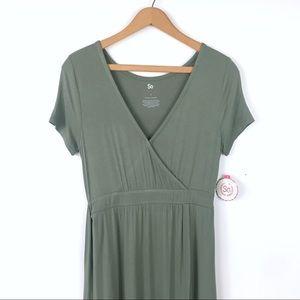 Olive Green Faux Wrap Maxi Dress